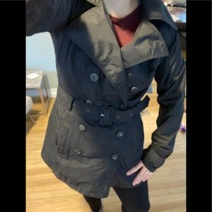 Belted Black North Face Trench, size Small